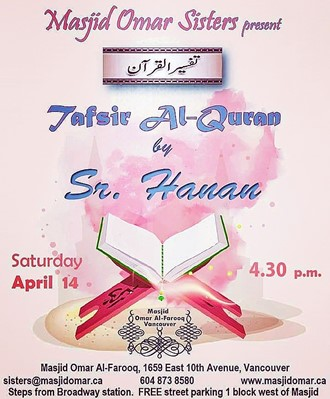 Sisters Halaqa by Sr. Hanan every 2nd Saturday of month at 4.30 p.m.